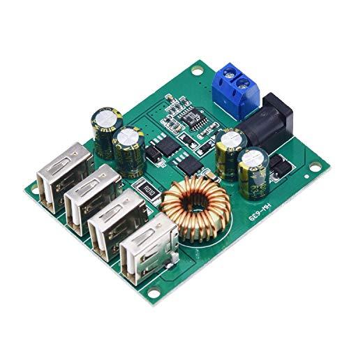 CENPEN Placa de Circuito DC 7V-60V a 5V 5A 4 Cuatro Salida USB Junta convertidor Buck Bajada del módulo de Fuente de alimentación del Cargador del Coche de Alta Velocidad