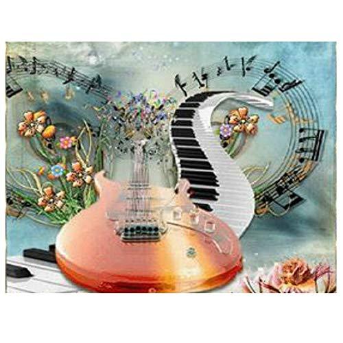 Pintura de diamante 5D DIY con notas musicales de diamantes de imitación para decoración de la pared del hogar, regalo (30 x 40) cm