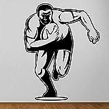 Sticker mural vinyle décoration intérieure sticker mural joueur de rugby chambre dessin animé Rugby Gym sport 42x54 cm