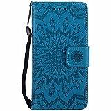 iPhone 8 ケース、 Dfly 高品質 PU 革 を エンボスマンダラ花デザイン 財布型 スタンド機能 ウ……