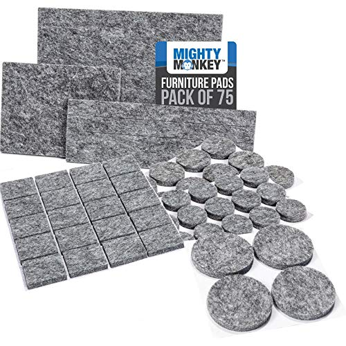 MIGHTY MONKEY Felt Furniture Gripper Pads 75 Pack Easy Glide Stays on Furniture Pad Prevents Scratches on Floors Prescored Adhesive Strips Secure to Furniture Heavy Duty Protects Floor Gray