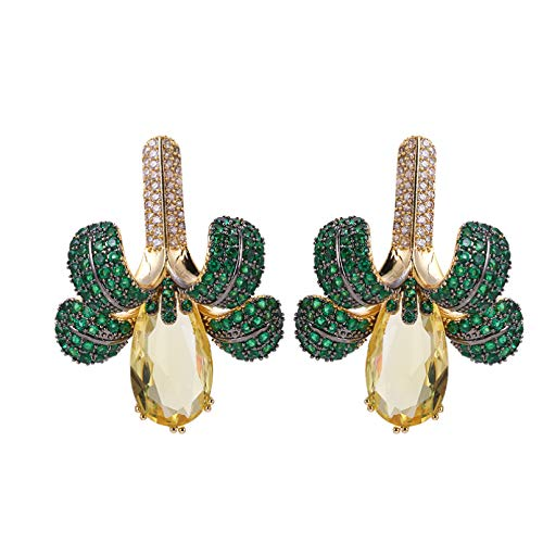 BAJIE Earring Three-Dimensional Three-Dimensional Leaf Earrings Are Covered With Full Cz Stone Fashion Bridal Earrings Plating Ladies Wedding Jewelry Gifts