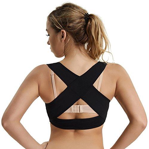 Humpback Posture Corrector Tops Shapewear for Women Compression Breast Up Cross Back Support (Black, XL)
