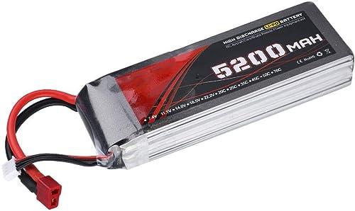 Dilwe 11,1 V LiPo-Akku, 5200mAh 60C Wiederaufladbare LiPo Lithium Batterie für Ferngesteuertes Auto   Flugzeug   Stiefel