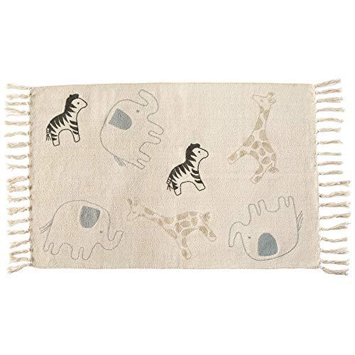 Mud Pie Teppich für Kinderzimmer, Baumwolle, Safari-Motiv, Schwarz/Weiß