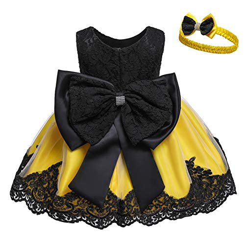 Cichic Vestido de princesa para niña, para bautizo, de encaje, tutú, para...
