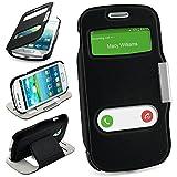 Bolso OneFlow para Funda Samsung Galaxy S3 Mini Cubierta con Ventana | Estuche Flip Case Funda móvil Plegable | Bolso móvil Funda Protectora Accesorios móvil protección paragolpes en Deep-Black