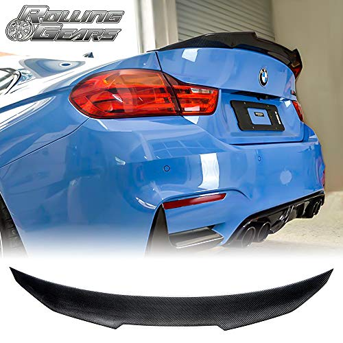M4V Style Rolling Gears Carbon Fiber Rear Trunk Spoiler Fits BMW 3er E90 Sedan and M3