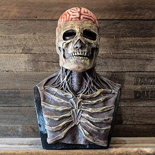 Máscara de caveira de Halloween, máscara assustadora de cabeça inteira, máscaras de terror de látex, caveira com cérebro exposto - máscara de caveira 3D, máscara de látex reepy, pode cobrir a parte superior do corpo, mandíbula móvel, adereços de fantasia de cosplay