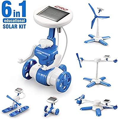 CIRO Solar Robot Science Kit 6-in-1 STEM Learning Building Toys for Kids, Powered Propeller Engines Educational Kit, Walking Robot/Air Boat/Windmill/Plane