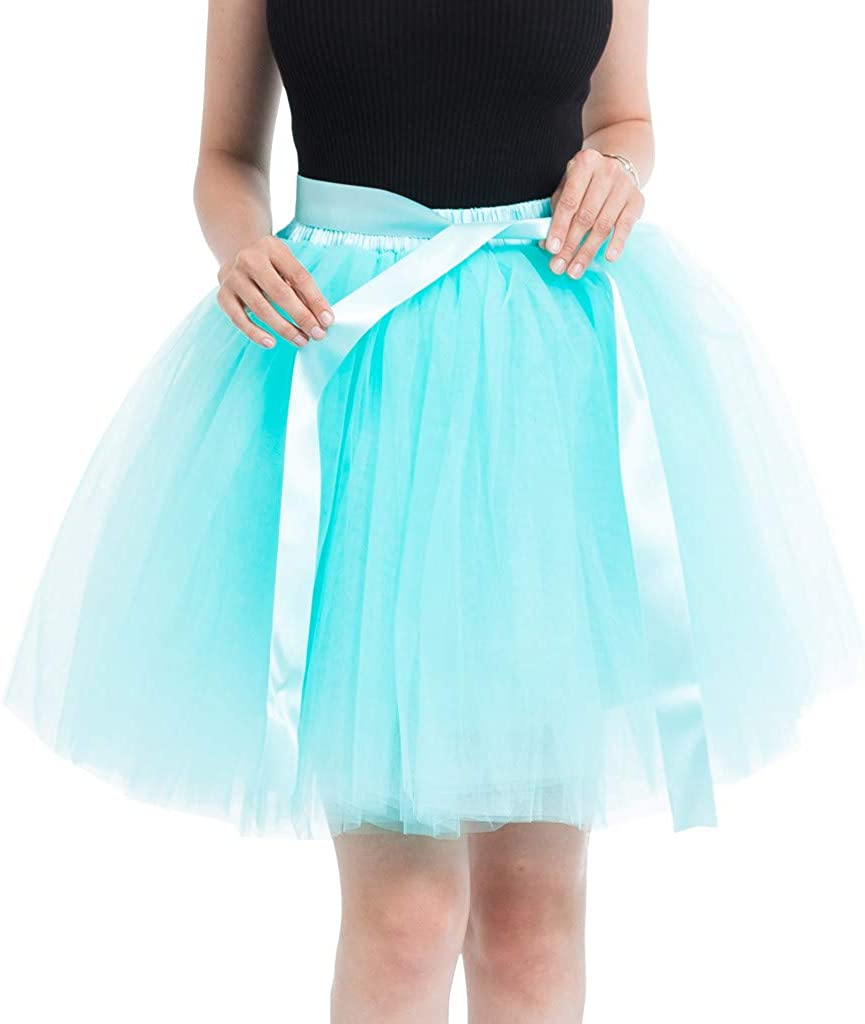 Litetao Women Girl Short Fluffy Tulle Tutu Skirt with Bowknot Classic 3 Layered Princess Party Outfit Costume Dress