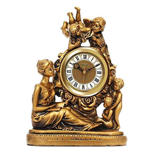 YEESEU Reloj de Mesa Familia Relojes Diosa Europeo, Embarcación de Reloj for no marcando Silencio Sala de Mesa de Estudio Reloj Adecuado for salón Dormitorio Oficina (Color, D), C