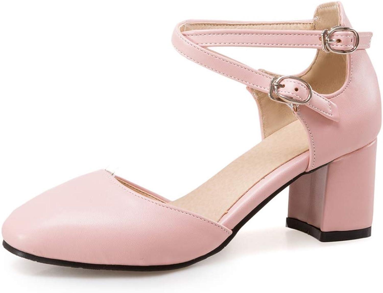 LIANGXIE Office Ladies Square Toe High Heels Schuhe Ladies Ankle Strap High Block Heels Girl Mid Heel Buckle Sandals Closed Toe Court schuhe Größe