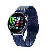 XXY DT88 Smart Watch Women IP68 Impermeable Impermeable 1.22 Pulgadas Pantalla De Ritmo Cardíaco Presión Arterial para Android Apple Samsung Huawei Watch (Color : Metal Blue)