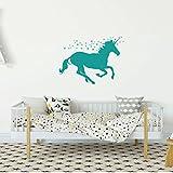Turquoise Unicorn Wall Decor Vinyl Decal for Girl's Bedroom, Playroom or Bathroom - Baby's Nursery Decoration