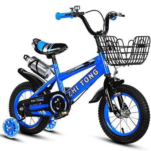 XIAOTING Kids Bike,12/14/16/18 Inch Girls/Boys Childrens Training Bicycle with Training Wheels,Water Bott and Basket for Boys & Girls (Color : Blue, Size : 14 inches)