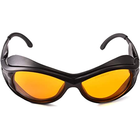 Professional OD 6+ 190nm-490nm Wavelength UV light / Violet & Blue Laser Safety Glasses for 405nm, 445nm, 450nm,473nm Laser (Black)