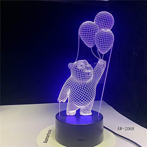Jiushixw 3D acryl nachtlampje met afstandsbediening tafellamp in beer kleur bed beginnersbeeld animatie geschenk tafellamp batterij buiten