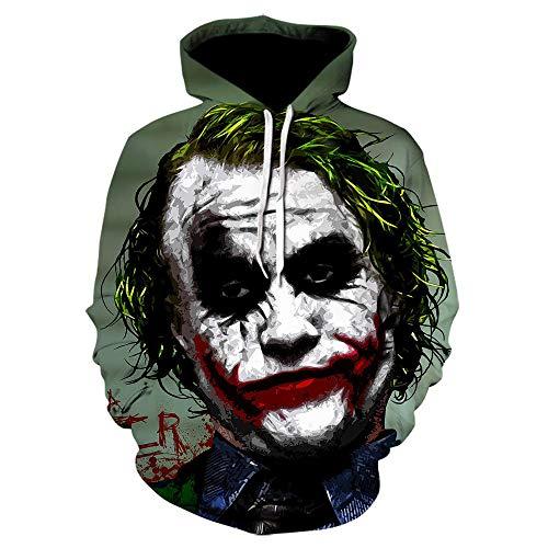 Htekgme - Sudadera con capucha unisex con estampado en 3D, payaso, Halloween, con capucha, bolsillos para adolescentes T12 XL