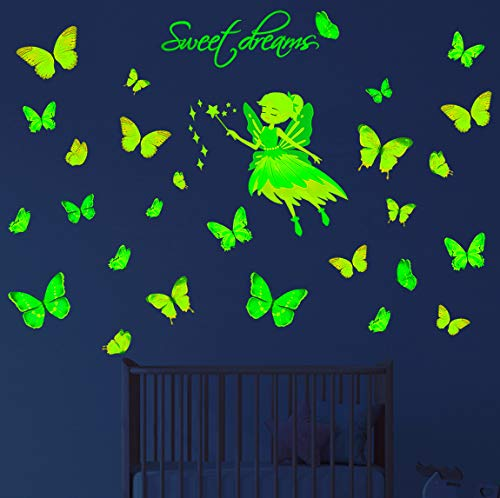 Glow in The Dark Butterflies Fairy Stars Wall Stickers Large Removable Luminous Butterfly Decals Decorations for Bedroom Living Room Colorful Sweet Dreams Mural for Kids Baby Nursery Girls
