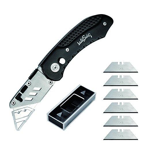 HONOCK Universalmesser zusammenklappbares Taschenmesser, Cuttermesser mit 6 Ersatzklingen