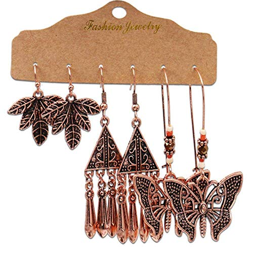 Gymqian Handmade Earrings Vintage Geometry Metal Hollow Out Leaf Butterfly Earrings Set for Woman Party Tassel Long Drop Earrings Accesories 20911-5 Decorations / 20911/2