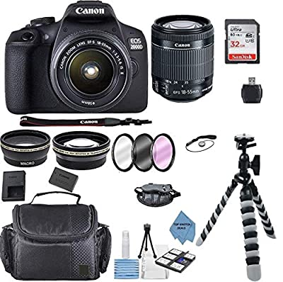 Canon EOS 2000D Rebel T7 Kit with EF-S 18-55mm f/3.5-5.6 III Lens + Accessory Bundle +TopKnotch Deals Cloth by Canon Intl