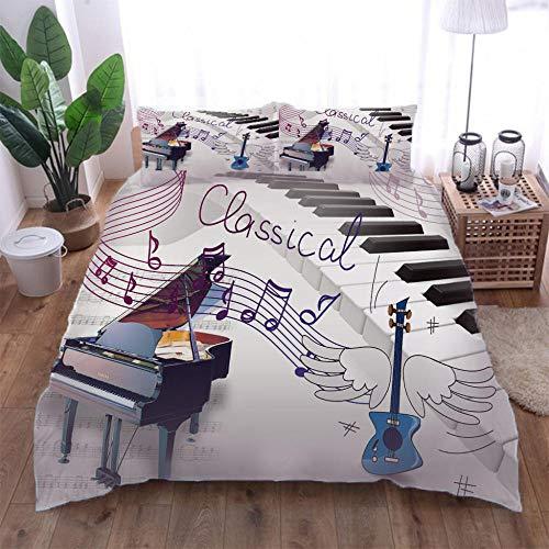 Jior Home Art Dekbedovertrek beddengoed Set Easy Care Machine Wash Print Piano Quilt Cover Set Met 2 Kussensloop, Rits Sluiting Ontwerp