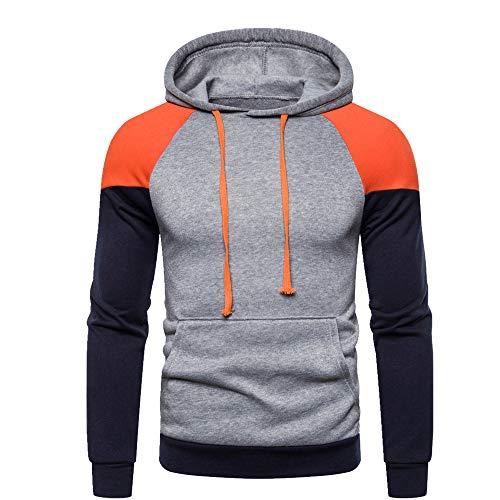 U/A Patchwork - Sudadera con capucha para hombre Naranja naranja XL