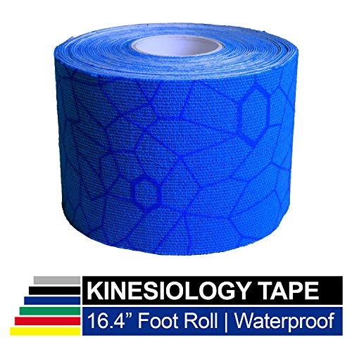 TheraBand Kinesiology Tape Waterproof Physio Tape for Pain Relief Muscle amp Joint Support Standard Roll with XactStretch Application Indicators 2 Inch x 164 Foot Roll Blue/Blue