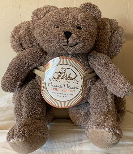 YB Plush Teddy Bear Stuffed Animal and Throw Blanket 2 Peice Gift Set, (Colors May Vary) Bonus Cold Pack for Kids Children Baby Shower Get Well Gifts