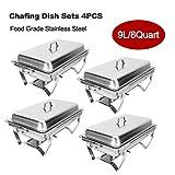 CO-Z 4 PCS Platos de Frotamiento 9L / 8Q Calentador de Buffet Acero Inoxidable Plato de Frotamiento Plegable Chafing Dish para Calentar Alimentos para Bufé, Fiesta, Banquetes