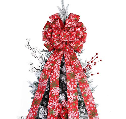 BUVANE Christmas Tree Topper,48x13 Inches Large Toppers Bow with Snowflake Pattern for Christmas Decoration