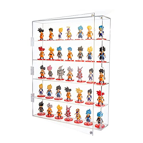 """AITEE Acrylic Display Case, Display Cabinet for Mini Funko Pop Figures, Dust-Proof Clear Wall Mounted or Desktop 5 Layer Storage Mini Toys Rock Stone, Each Compartment: 15 4 5""""L x 3 4 10""""W x3 9 10""""H"""