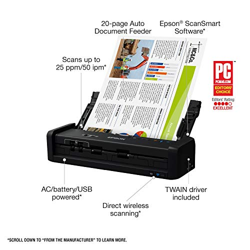Epson Workforce ES-300W Wireless Color Portable Document Scanner with ADF for PC and Mac, Sheet-fed and Duplex Scanning Photo #3