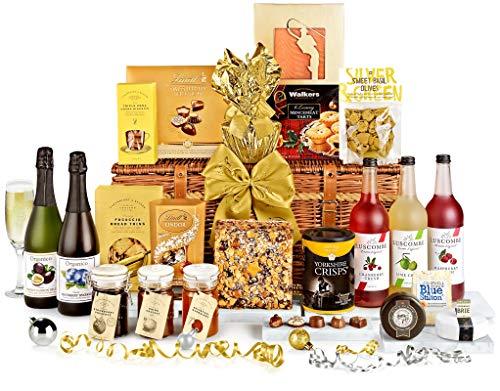 Yuletide Splendour Hamper with Alcohol-Free Pressés - Hand Wrapped Gourmet Food Basket, in Gift Hamper Box