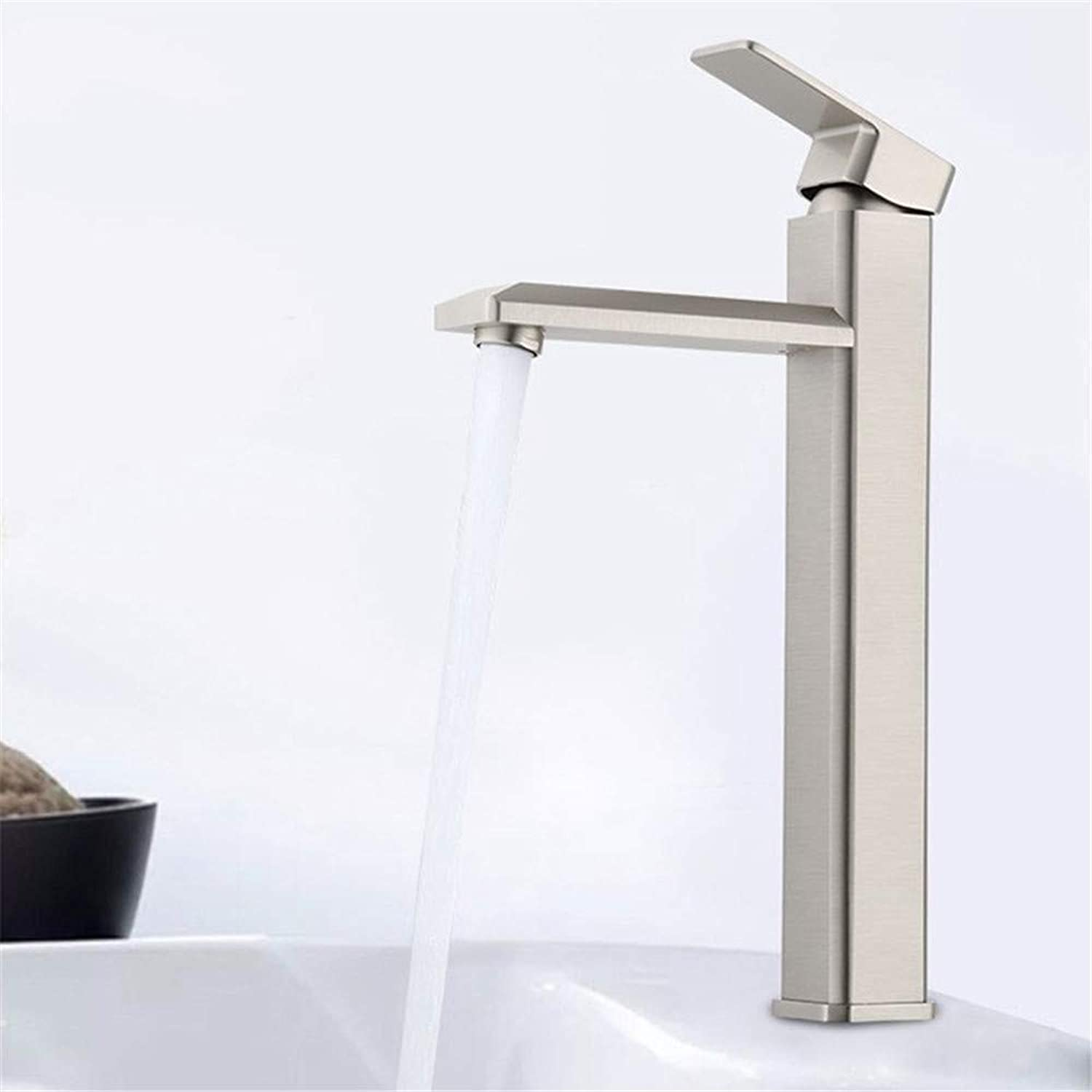 Oudan Hole Basin Faucet Hot and Cold Shower Faucet Mixing Faucet Full Copper Wire Drawing (color   -, Size   -)