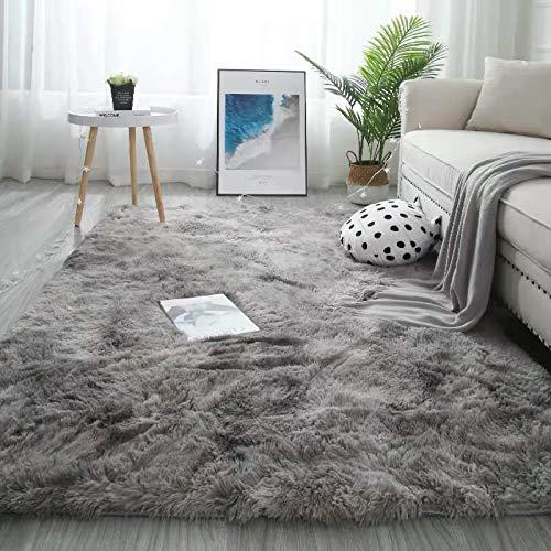 YUANYISHI Alfombra de pelo largo de seda y lana Tie-Dye de color degradado para dormitorio, salón, cama de noche, lavable, tamaño grande, color gris, 160 x 230 cm