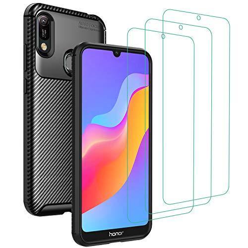 iVoler Cover per Huawei Y6 2019 / Huawei Y6s 2019 / Honor 8A, con 3 Pezzi Pellicola Vetro Temperato, Fibra di Carbonio Custodia in Morbida Silicone TPU Anti-Graffio Antiurto Protettiva Case - Nero