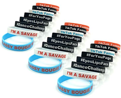RoZer B. Kind 24pc TIK Tok Party Pack Silicone Wristbands for Party Bags for Girls and Boys, I'm a Savage, Classy Bougie Ratchet, TIK Tok Famous, for You Page, Dance Challenge