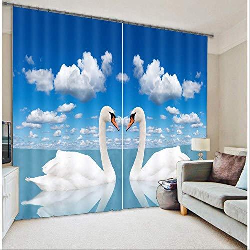 Bedroo3D gordijnen Swan Lake Wave Scenic gedrukte gordijnen kantoor woonkamer wandbehang geluidsisolerende gordijnen 46 'W X 54 'H 158 x 98 inch (400 x 250 cm).