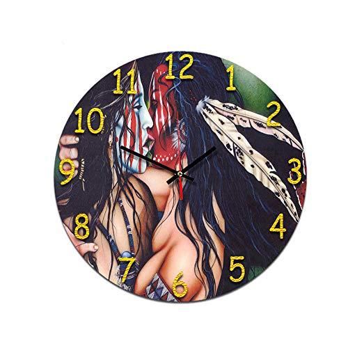 LUOYLYM Afro Hombres Y Mujeres Sala De Estar Reloj De Pared Retro Digital Acrílico Mudo Hogar Reloj De Moda Creativo Despertador Sin Bordes P190430-178 28CM