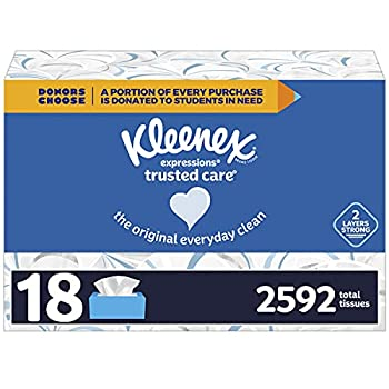 Kleenex Expressions Trusted Care Facial Tissues 18 Flat Boxes 144 Tissues per Box 2592 Total Tissues