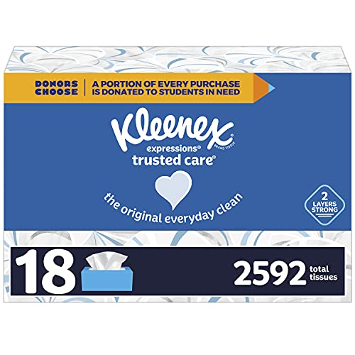 Kleenex Expressions Trusted Care Facial Tissues, 18 Flat Boxes, 144 Tissues per Box, 2592 Total Tissues