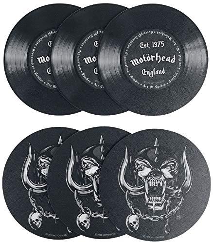 Motörhead Schallplatten - Untersetzer 6-teilig Bedruckt, aus Hart-PVC und rutschfestem Zellkautschuk.