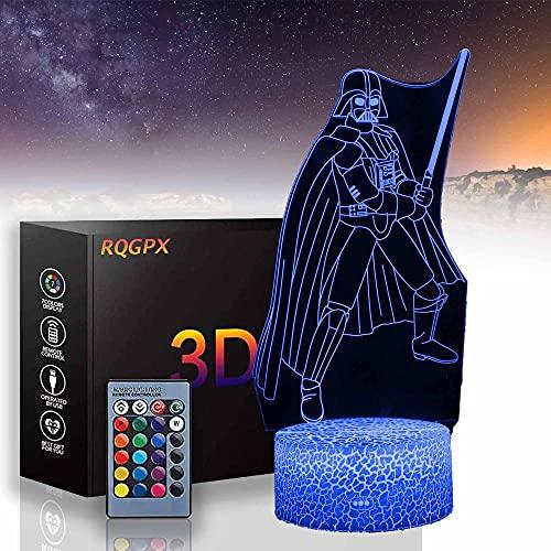 Darth Vader B luz de noche para niños lámpara de ilusión 3D con control remoto 16 colores que cambian de Navidad, regalo de cumpleaños para niño niña
