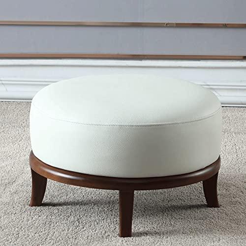 Reposapiés de cuero, taburete redondo para sofá y taburete cuadrado, estilo moderno de moda, fabricado en madera de fresno, piel de vacuno y esponja de alta densidad, tacto delicado, apto para