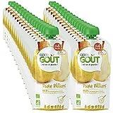 Good Goût - BIO - Lot 32 gourdes Purée de fruits Poire Williams dès 4 mois 120g - Pack de 32