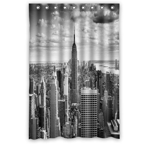 Nyc centrum nina zwart-wit foto Mode douchegordijn, doucheringen inbegrepen 100% waterdicht polyester stof 48