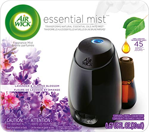 Air Wick Essential Mist, Essential Oil Diffuser, (Diffuser + 1 Refill), Lavender and Almond Blossom, Air Freshener, 2 Piece Set